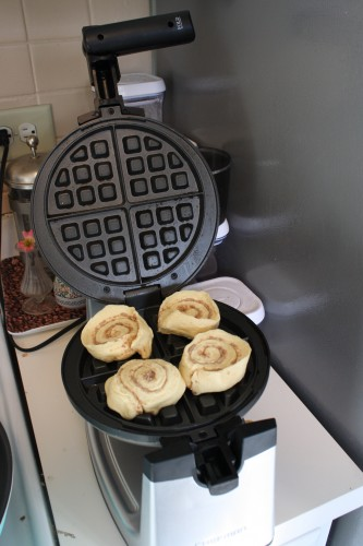 Raw rolls in the waffle iron