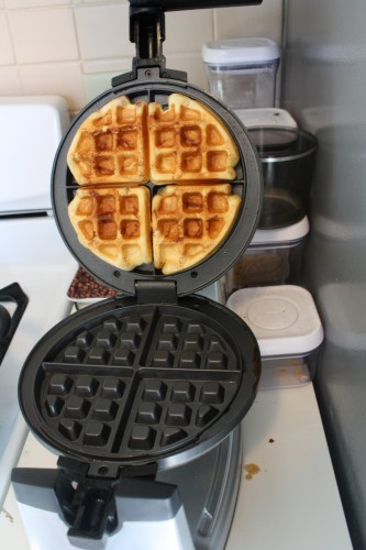 Cooked rolls in the waffle iron
