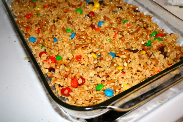 Trail Mix Krispies in the pan